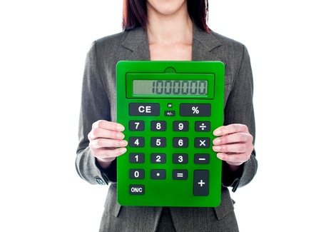 Business woman holding calculator. Focus on calculator. All on white background photo