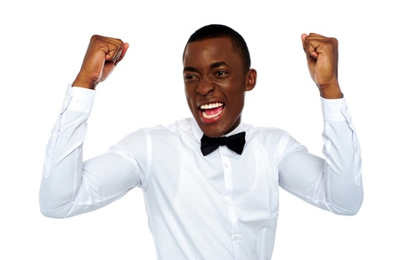 Black excited african man enjoying his success isolated over white background Stock Photo - 14069287