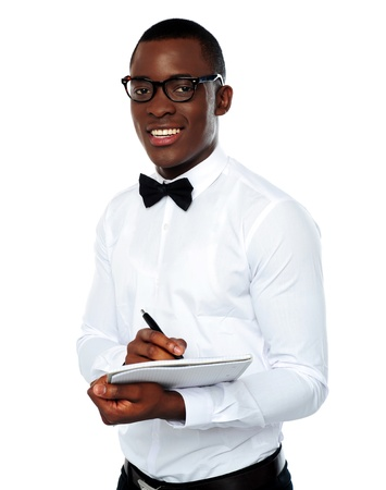 Smart african with a clipboard and pen isolated over white