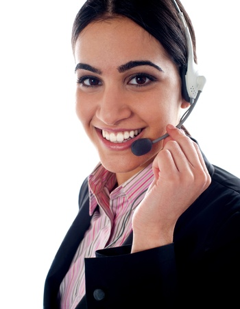 Customer service operator holding mic. Closeup shot photo