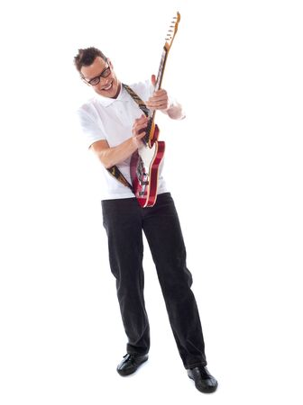 full shot: Full shot of a caucasian guitarist isolated over white background