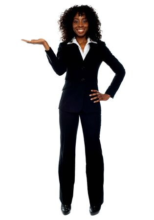 Full length pose of young female ceo presenting copyspace in business Stock Photo - 14087574
