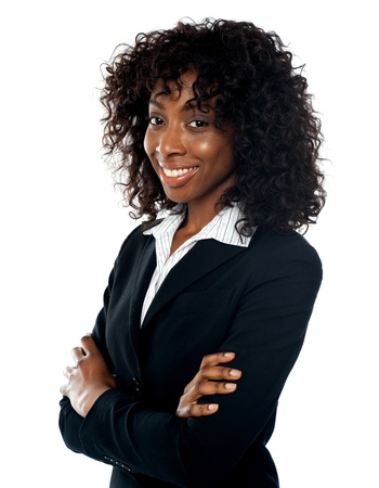 Smiling successful businesswoman posing with folded arms Stock Photo - 14087972