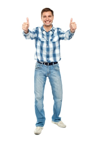 Excited guy showing double thumbs up. Isolated studio shot Stock Photo - 14087777