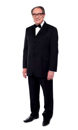 party wear: Full length shot of fashionable senior man in party wear outfit