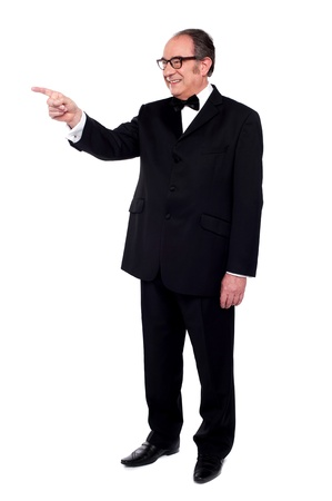 Full length portrait of male pointing at copy space Stock Photo - 14301279