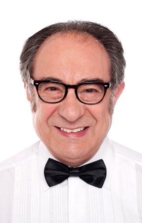 Closeup portrait of smiling senior man. All on white background Stock Photo - 14301762