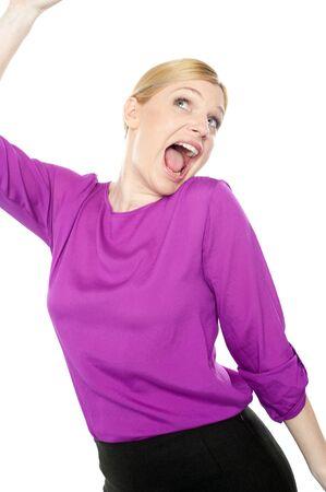 Joyful corporate woman dancing and celebrating her success Stock Photo - 14382637