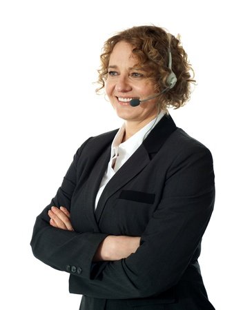 Female customer support executive assisting client. Posing with arms crossed Stock Photo - 14435460