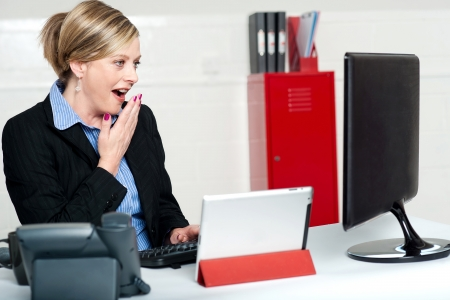 Surprised female secretary looking at lcd screen. Indoors office shot Stock Photo - 14552949