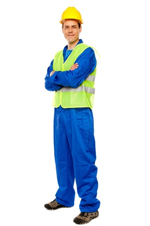 Handsome male repairman posing in style, full length portrait photo