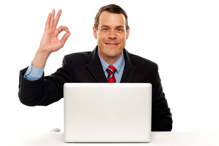 yup: Attractive businessperson showing okay gesture to camera while working on laptop