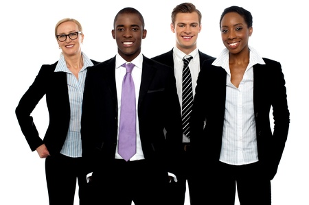 company employee: Group of different business people in a line posing and smiling at camera