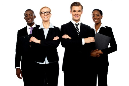 A group of young attractive business people isolated over white background photo