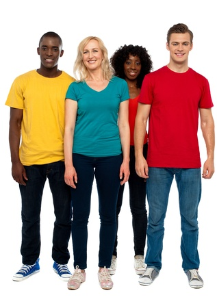 Full length portrait of causal young four friends posing in front of camera Stock Photo - 14657508