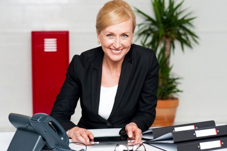 Smiling corporate lady holding wireless tablet. Indoor office shot Stock Photo - 14724697