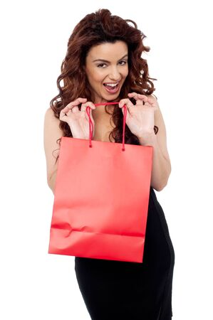 Cheerful young brunette in black dress holding shopping bag Stock Photo - 15030378