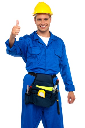 Keep up the good work. Sign from young repairman Stock Photo - 15030414