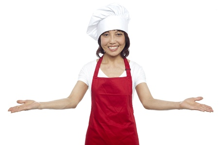 experienced: Great welcome by experienced asian female chef. All against white background