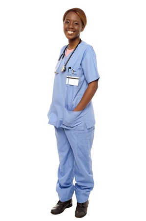 surgical nurse: Medical expert posing with hands in her uniform isolated over white background