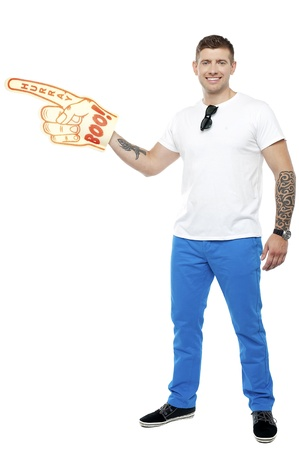 Sports fan holding Boo Hurray foam hand isolated on white background photo