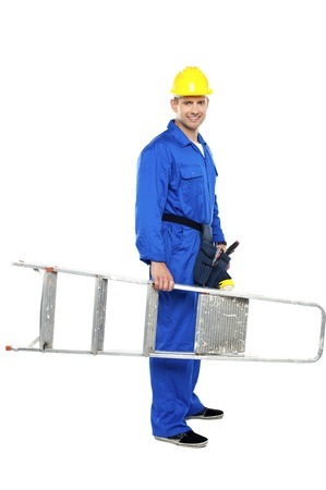 Young repairman ready with stepladder isolated against white background photo