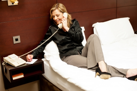 formals: Relaxed woman confirming the meal ordered over phone call