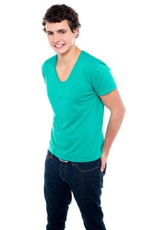 Guy in trendy casual wear posing in style with hands in back pocket of jeans Stock Photo - 15714963