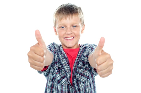 Student flashing double thumbs up with his arms stretched out Stock Photo - 15895633