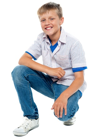 casuals: Trendy young boy posing in casuals. Studio shot Stock Photo