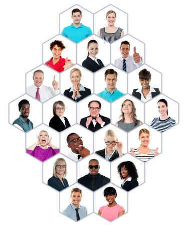 causal: Happy smiling collage collection of multiracial group of people showing racial diversity Stock Photo