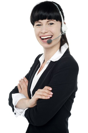 Customer support executive enjoying her work. Posing with confidence Stock Photo - 16405315