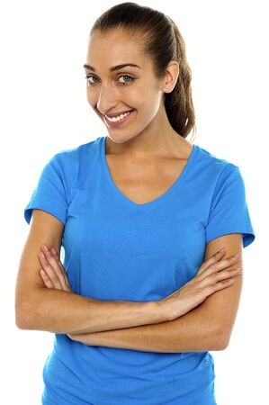 Profile shot of a modern middle aged woman posing with arms crossed Stock Photo - 16469229