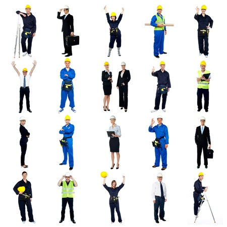 Collection of construction workers. All on white background. photo