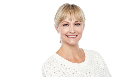 casuals: Cheerful caucasian lady posing in casuals isolated on white background.