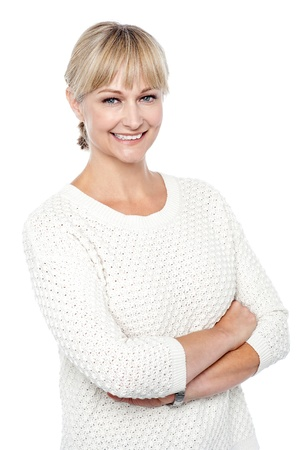 Stylish fashion woman in knitted clothing posing in style. Stock Photo - 17039051