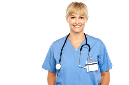 Calm and composed medical expert with stethoscope around her neck. Stock Photo - 17044371
