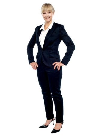 Stunning employee posing confidently. Full length shot over white. Stock Photo - 17044062