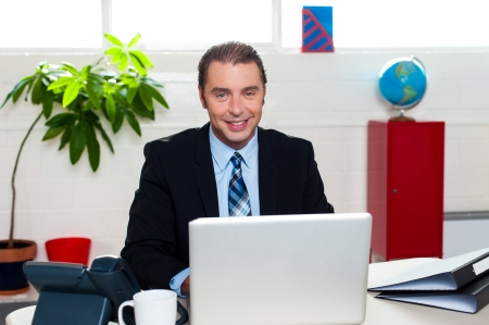 Ambitious male boss in his workplace, working on laptop. Stock Photo - 17204308