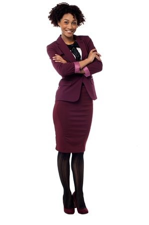 Full length portrait of contemporary corporate woman posing with folded arms. Stock Photo - 17378472