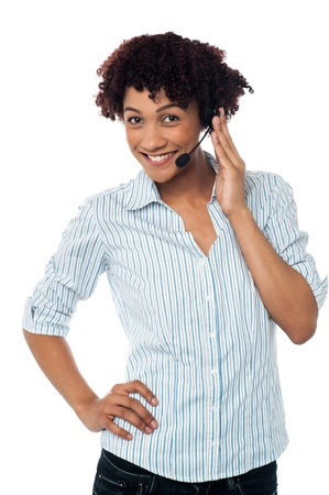 Female telemarketer wearing headset with mic. Stock Photo - 17378669