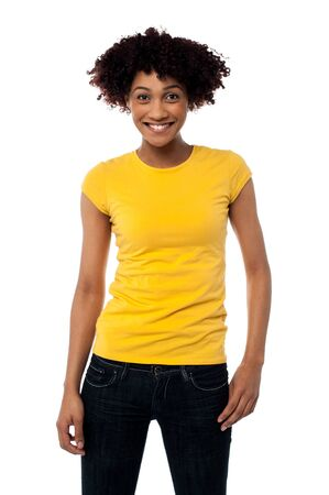 Portrait of young smiling afro american woman in trendy clothing. Stock Photo - 17378595