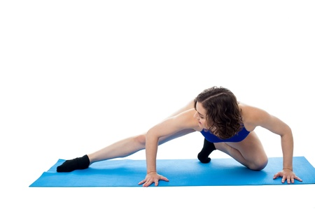 Beautiful fit female model engaged her aerobic exercises, fitness concept Stock Photo - 18253609