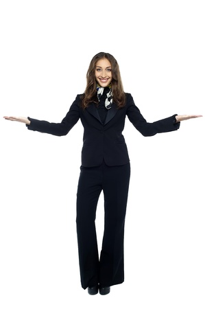 air hostess: Air hostess welcoming the passengers. Isolated over white.