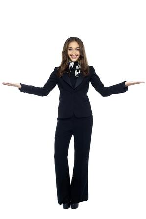 hotesse de l air: Hôtesse de l'air accueillir les passagers. Isolé sur fond blanc. Banque d'images