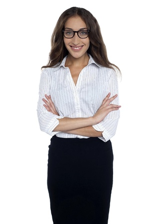 Portrait of young smiling gorgeous corporate woman wearing spectacles. Stock Photo - 17490209