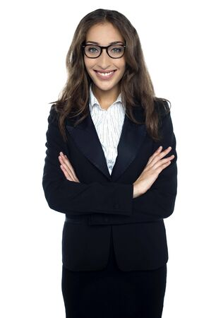 Bespectacled smiling businesswoman portrait isolated. Female model with long hair Stock Photo - 17490346