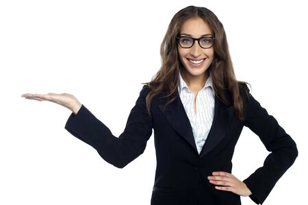 Happy successful businesswoman isolated over white background. Stock Photo - 17490212