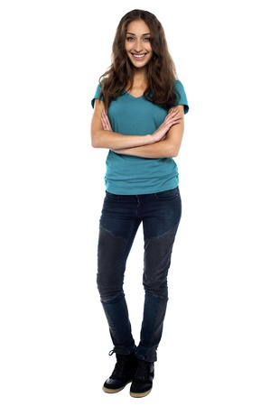 Full length portrait of a woman in trendy wear, arms crossed Stock Photo - 17490121
