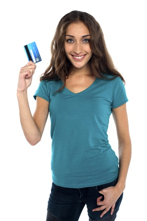 go shopping: Gorgeous woman holding credit card. Lets go shopping...